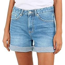 Pantalones Cortos para Mujer Cintura Alta Vaqueros Bermuda Hot Pants Básicos Moda Shorts (ES 40(28W), Azul Claro)
