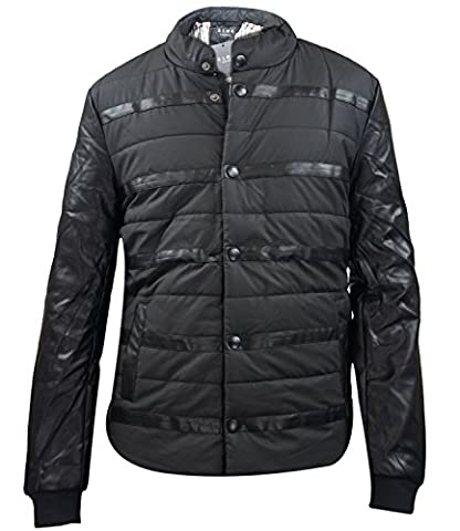 Mens Padded Coat PU Leather Jacket Black Small