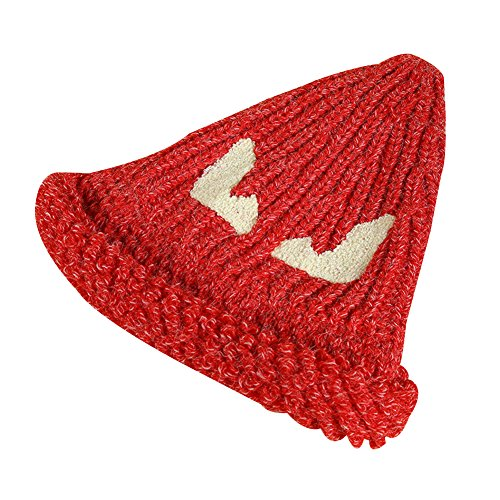 Surker Femmes Mode Pointy Chapeau Tricot Cap Warm Witch Cone Hat Rouge