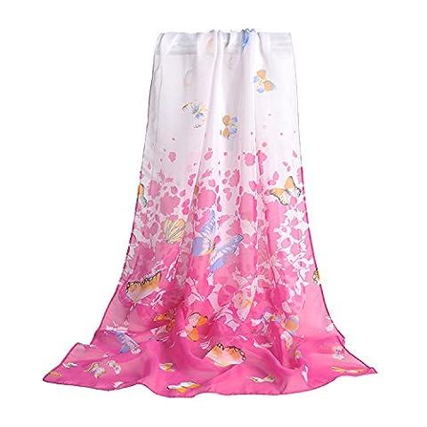SUNNOW® Women Charming Elegant Butterfly Print Soft Long Sheer Chiffon Scarf Wrap Shawl (Rose Red)