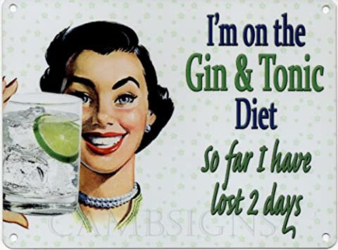 I'm oN tHE gIN tONIC metal dIET aND advertising sign taille l : 400 x 300 mm