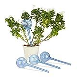 Relaxdays Bewässerungskugeln, 4er Set, Dosierte Bewässerung, 2 Wochen, Versenkbar, Deko, Topfpflanzen, Kunststoff, Blau Bewässerungskugel, PP, Metall mit Zinklegierung, 22 x 22 x 16 cm,