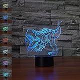 Lámpara de dinosaurio 3d ilusión óptica luz nocturna, jawell 7cambia de color Touch mesa lámparas de escritorio con base de ABS y acrílico soporte de & cable usb para regalo.