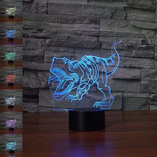 Lámpara de dinosaurio 3d ilusión óptica luz nocturna, rquite 7cambia de color...
