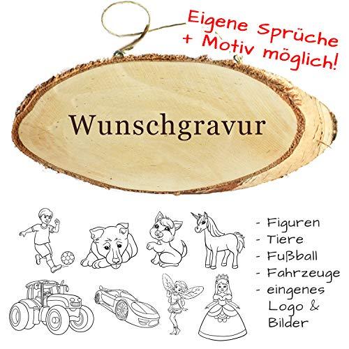 Türschild mit Gravur - Name + Spruch + Motiv möglich - aus Holz mit Kordel, Willkommensschild, Familienschild, personalisiertes Holzschild als Wandbrett, Dekoration oder Geschenkidee