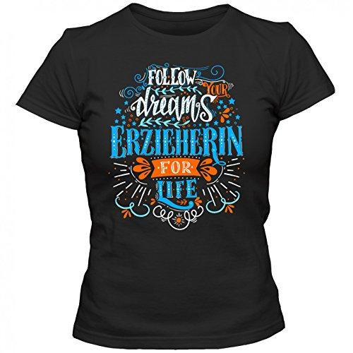 Flowerpower Erzieherin #1 T-Shirt | Berufe | Follow your dreams | Traumberuf | Frauen | Shirt © Shirt Happenz Schwarz (Deep Black L191)