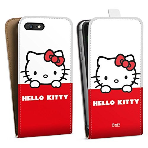 Apple iPhone SE Hülle Case Handyhülle Hello Kitty Merchandise Fanartikel Cute Kawaii Downflip Tasche weiß