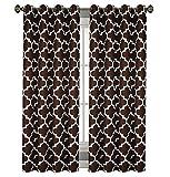Blickdicht Ösenvorhang Ösenschal Schal Dekoschal für Fenster 2er Set Dekorativ 2 Stück viele Farben Klee Vorhänge mit Ösen 145x250 cm MAROKO (DL-9 Braun)