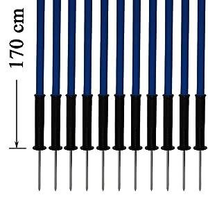 agility sport pour chiens - lot de 12 piquets de slalom, bleu - 170 cm x Ø 25 mm avec des ressorts flexibles en métal - contient également un sac pratique