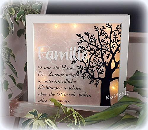 """beleuchteter Bilderrahmen 3D Leuchtrahmen LED""""Familie ist wie ein Baum."""" Geschenk zum Geburstag Jugendweihe Geburt Taufe Hochzeit Weihnachten Geschenkidee"""