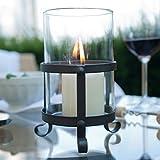 Varia Living Windlicht Horaz aus Metall | Mit Glaszylinder als Windschutz | Vintage | Modern und Klassisch | Für Große Kerzen | Höhe 15cm X D 10cm
