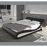 Muebles Bonitos – Cama de diseño modelo Carol en color blanco y negro con LED 180x200cm Con LED