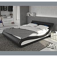 muebles bonitos Cama de Matrimonio Carol para Colchón de 160x200cm Blanco y Negro con LED