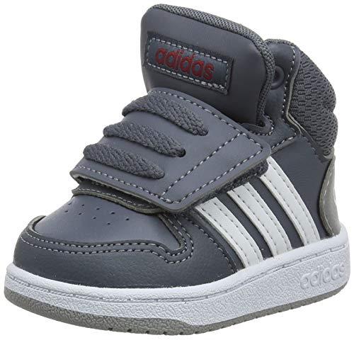adidas Unisex Baby Hoops 2.0 Mid Sneaker, Grau (Onix/Footwear White/Active Maroon 0), 20 EU