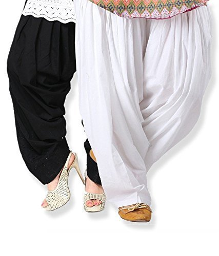 I Shop Women\'s Cotton Patiala Salwar (PATIALA-SALWAR-01234_WHT_BLK_Free Size)