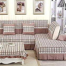 ZCM Copridivano,Modern Minimalist Lattice Sofa Cushion Tessuto in Cotone Antiscivolo Full Cover Slipcover KD-5(1 Pezzo) (Colore : 90 * 110cm)