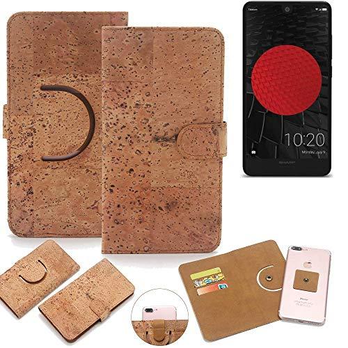 K-S-Trade Schutz Hülle für Sharp Aquos C10 Handyhülle Kork Handy Tasche Korkhülle Handytasche Wallet Case Walletcase Schutzhülle Flip Cover Smartphone