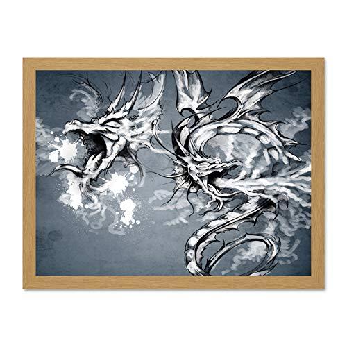 Doppelganger33 Ltd Painting Ornate Pair Dragon Tattoo Design Art Large...