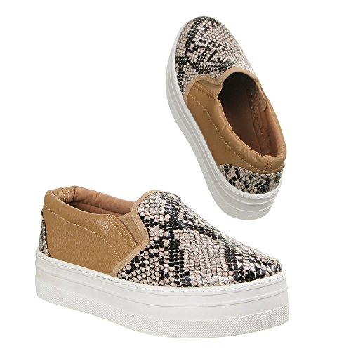 Ital-Design Damen Schuhe, AD-55, Freizeitschuhe Braun Multi