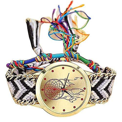 WSSVAN Estilo Nacional Ginebra tejiendo atrapasueños Pulsera Reloj Exquisito Hecho a Mano DIY Reloj de Las Mujeres de múltiples Colores de la Moda de la Correa de la Amistad Mano Reloj (C)