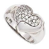 JOBO Damen Ring Herz 925 Sterling Silber rhodiniert mit Zirkonia Silberring Größe 54