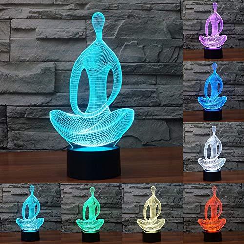 7 Couleur Méditation Yoga 3D Led Lampe Chambre Lampe Salon Nuit Lumière Bureau Décoration De Table Led Nuit Lumière