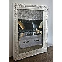 Espejo rectangular de pared en blanco de la antigüedad con pátina de 37 x 47 cm | Espejo barroco de madera | campo de estilo como espejos de baño | Maquillaje espejo y espejo de cortesía para la casa de campo