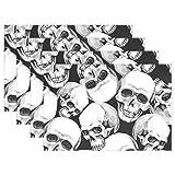 SENNSEE Skulls Funny Tisch-Sets Home Teller Fußmatte für Esstisch hitzebeständig Küche Tisch Matte Kinder 30,5x 45,7cm, Polyester, Mehrfarbig, 12x18x1 in