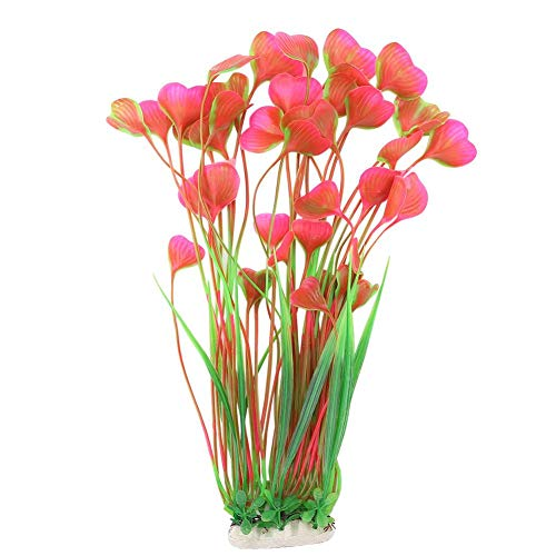 Acquario di plastica Erba Artificiale Piante subacquee realistiche Acquario Naturale Decor Fish Tank Decoration Ornament (Rosa)