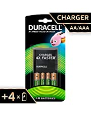 Duracell High Speed 5001378 Advanced Charger with 2 AA (1300 mAh) and 2 AAA (750 mAh) Rechargeable Batteries (Green)