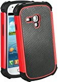 teKKno® Protective Shock Proof Stylish Dual Case Cover And LCD Guard for Samsung Galaxy S3 Mini i8190 / Red