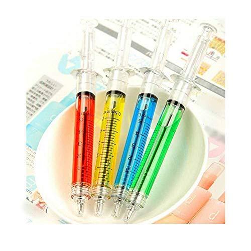 MAXGOODS Spritze Design Kugelschreiber 10 STK-Pack, Schwarze Tinte Farbe, Zufällige Spritze Farbe - Pack Spritze