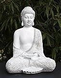 Tiefes Kunsthandwerk Steinfigur Buddha sitzend - Antik-Weiss, Garten Deko Figur Stein Statue...