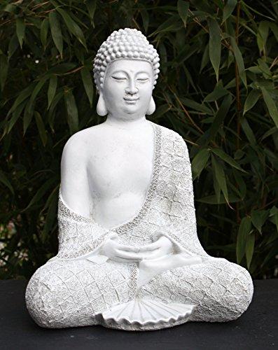 Steinfigur Buddha sitzend - Antik-Weiss, Garten Deko Figur Stein Statue Frostsicher