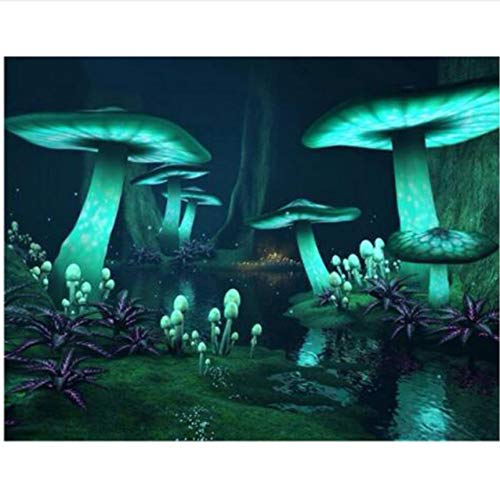 mzcyl Zauberpilz Fantasie Dark Forest Glow DIY Diamant Malerei Kreuzstich Stickerei Strass Voller Stein 40x50cm (The In Dark Leinwand-wand-kunst-glow)