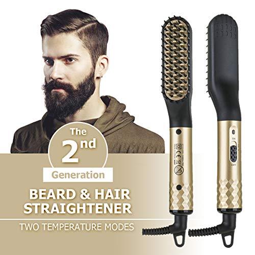 GITYB Bartglätter Bürste Haar Glätter Kamm Elektrische Bartbürste - Multifunktionaler elektrischer Glättungskamm 2-in-1 Temperatur einstellbar von 180°C bis 200°C