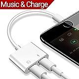 Lightning Jack Adapter, adaptateur de Lightning pour iPhone 7/7plus iPhone 8/8plus iPhone X casque audio casque. Double adaptateur de Lightning et séparateur avec charge + Audio + Music Control + appel téléphonique. aux Écouteurs Jack Adapter Connexion Accessoires câble convertisseur répartiteur. Compatible Ios10.33/iOS 11.2 ou Later-white