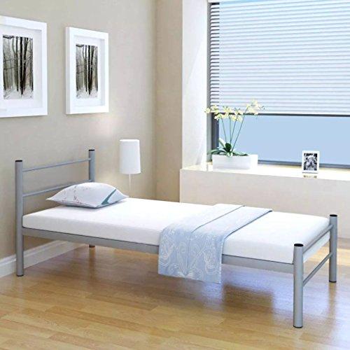 mewmewcat Einzelbett Bettgestell Metallbett Bett aus Metall ohne Matratze 90x200 cm Grau