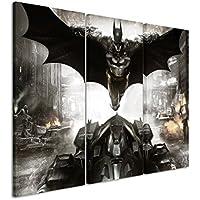 Lienzo 3piezas Batman _ Arkham _ Knight _ Fly _ 3x 90x 40cm (total 120x 90cm) _ Acabado impresión artística Schöner auténtica Lienzo como Cuadro En Bastidor