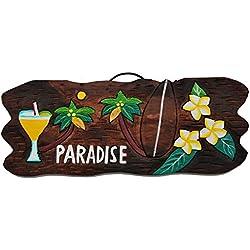 Cartel de madera 50cm Paradise Tiki Hawaii