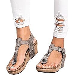 Sandalias Mujer Cuña Alpargatas Plataforma Bohemias Romanas Flip Flop Mares Playa Gladiador Verano Tacon Planas Zapatos Zapatillas Negro Beige 35-43 GY40