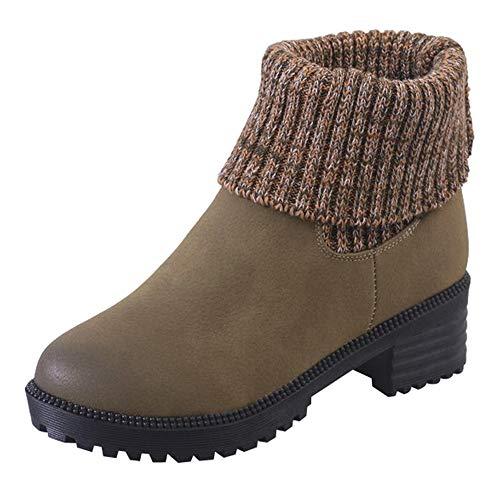 UFACE Damen Platz Ferse Schuhe Martain Boot Leder Warm Warm Runde Zehe Slip-On ()