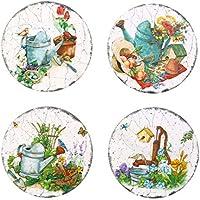 VORCOOL 4 piezas de cerámica Coaster a prueba de calor antideslizante Cup Mat Pad decoración del hogar herramienta de cocina - Round Pastoral (estilo aleatorio)