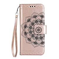 Galaxy J5 2017 Case, SONWO Mandala Flower Pattern Design Flip PU Leather Book Wallet Cover Case with Card Slots and Stand for Samsung Galaxy J5 2017, Rose Gold