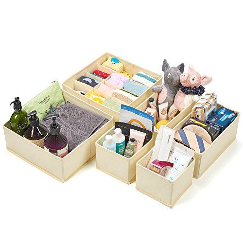 Schlafzimmer Schrank Organisatoren (Stoffbox für Schublade, EZOWare 6er-Set Faltbare Aufbewahrungskiste für Regalfach, Schrank - Beige)