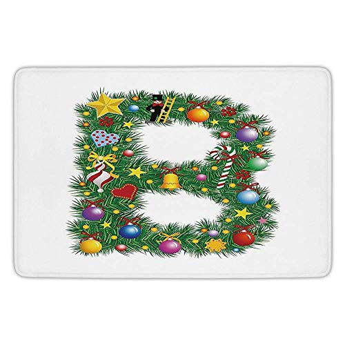 EJjheadband Bathroom Bath Rug Kitchen Floor Mat Carpet,Letter B,Tasty Candy Cane and Figure with Top Hat Suit Christmas Tree Design with B Print,Multicolor,Flannel Microfiber Non-Slip Soft Absorbent