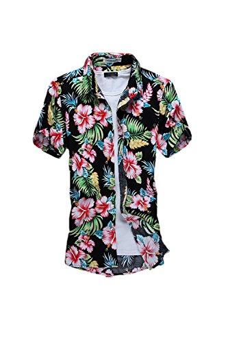 Yacun Hombres Camisas Hawaianas Manga Corta Casual Tops Red L