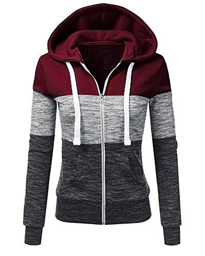 6c1307ed27fb Minetom Invernali Donna Manica Lunga Felpa con Cappuccio e Zip Casual  Colore Contrasto Pullover Hoodie Sweatshirt