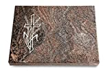 MEMORUM Grabmale Grabtafel, Grabplatte, Grabstein, Grabkissen, Urnengrabstein, Liegegrabstein Modell Pure 40 x 30 x 3-4 cm Paradiso-Granit, Poliert inkl. Gravur (Sandstrahl-Ornament Kreuz 4)