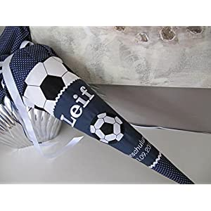 #122 Fussball dunkelblau Schultüte Stoff + Papprohling + als Kissen verwendbar